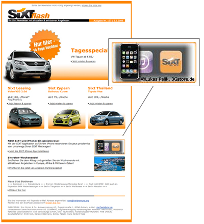 Sixt Newsletter mit iPhone3G Bildern vom 3Gstore